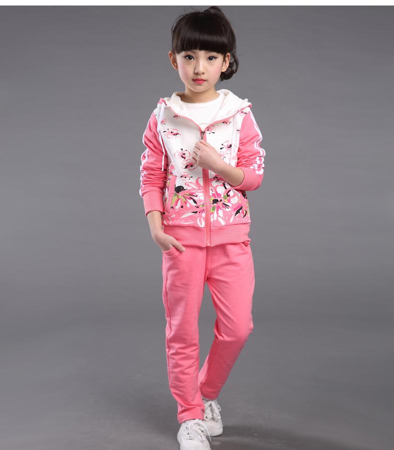 童装2016春女童款套装小女孩子衣服儿童运动大童装两