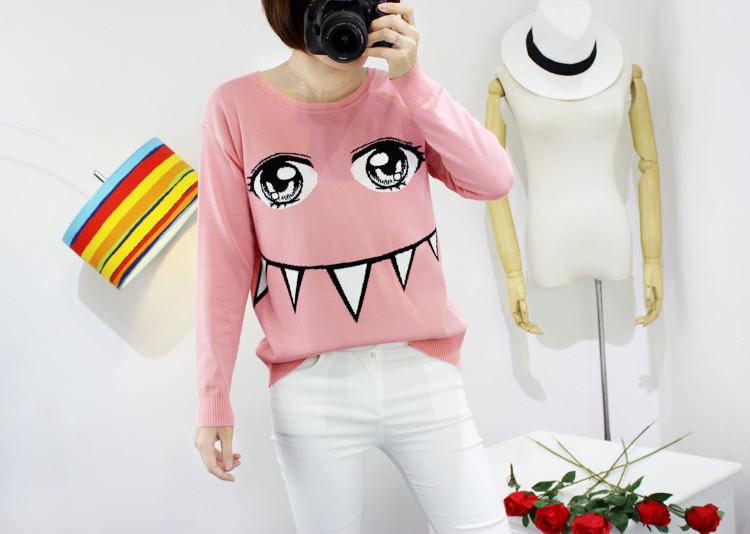 经典蜜雪 2015秋冬甜美可爱眼睛牙齿卡通长袖针织衫毛衣 粉红色 均码