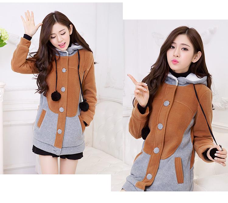 伊恋朵2015青少年冬装新款韩版初中学生可爱少女毛呢外套女中长款修身