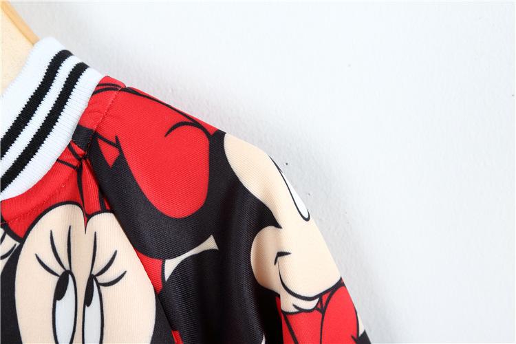 016春款女童韩版卡通图案长袖 裙子两件套装 m 红色 110120cm/衣标11