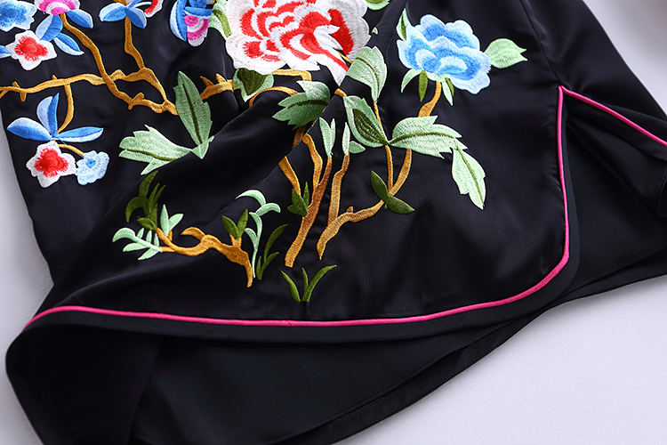 沐欣店民族风中式旗袍款大花刺绣无袖黑色连衣裙 2016图片
