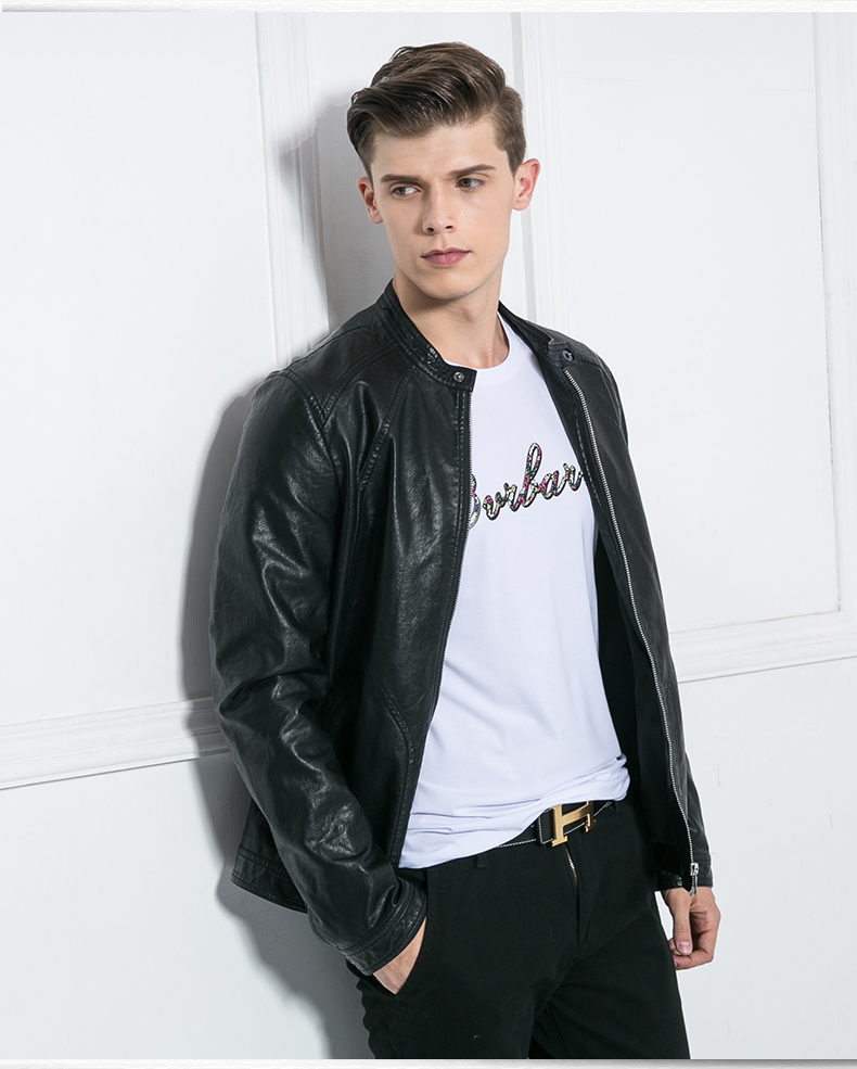 奥德里奇短款小立领皮衣夹克男士青年男装秋冬外套拉链潮韩版 黑色 xl