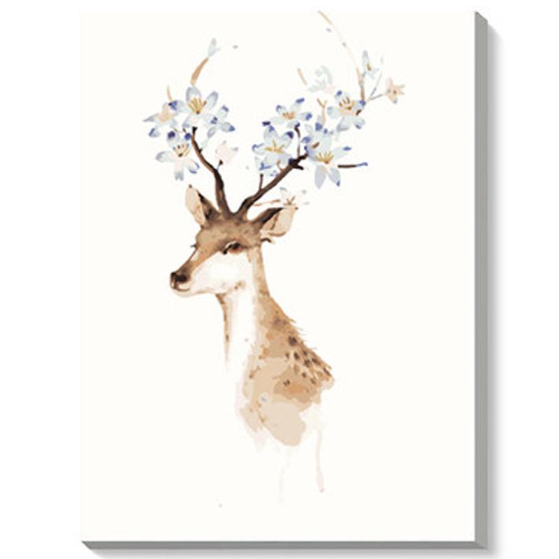 数字油画 简易手工自助手绘挂画 卧室抽象艺术系列装饰挂画 g190鹿头
