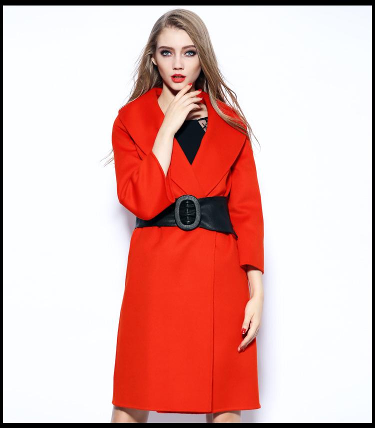 苏格曼2015秋冬新款纯手工双面毛呢羊绒大衣女中长款羊毛呢外套女