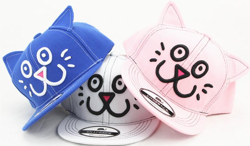 2016新款儿童青少年学生帽子 刺绣猫咪立体耳朵嘻哈棒球帽 夏季防晒