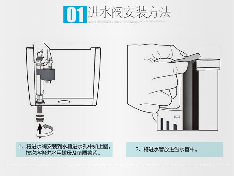 科奇玛 马桶配件 排水阀 套装 进水阀 通用 静音可调节 双按钮 连体29图片
