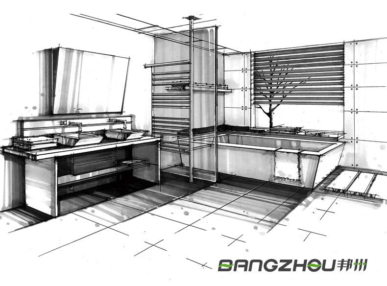 手绘浴室设计图