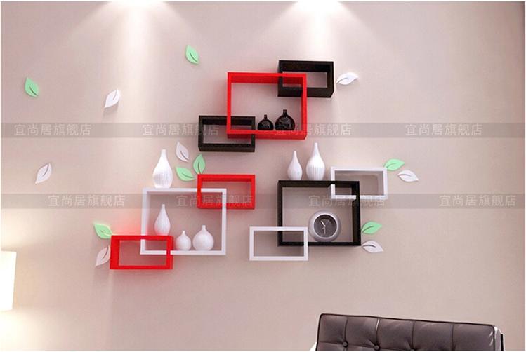 宜尚居 创意格子家居墙上隔板置物架搁板电视背景墙装饰架壁架柜墙壁图片