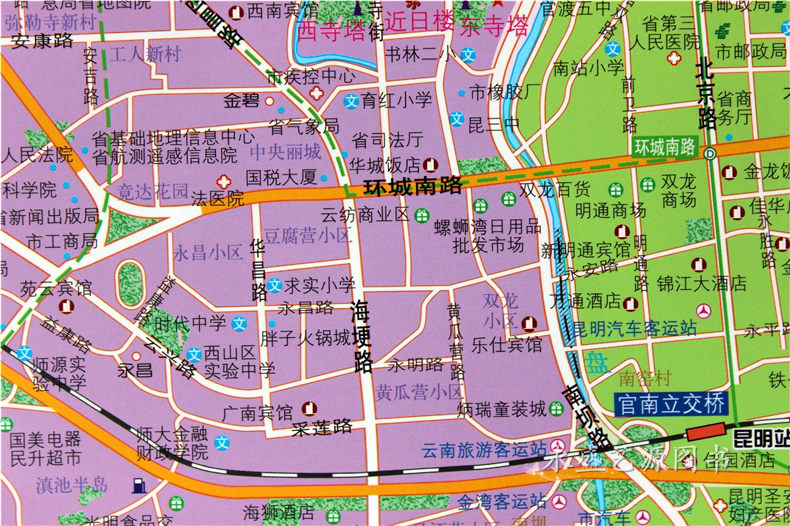 昆明市地图 云南省地图   出版:   哈尔滨地图出版社   内容:   全图