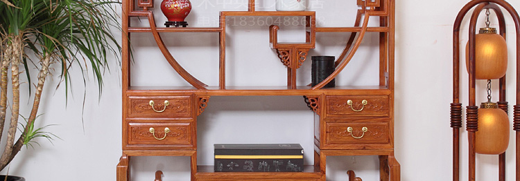 木中央 红木博古架1.3米 实木仿古多宝阁中式古董架架