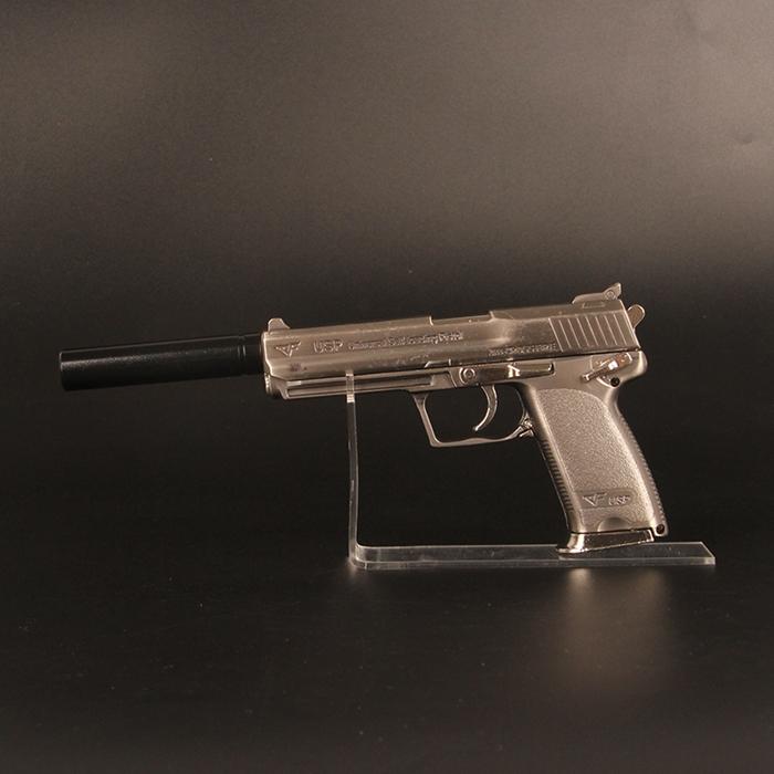 05仿真模型玩具usp消音器版宝宝玩具不可发射灰色+子弹5+套