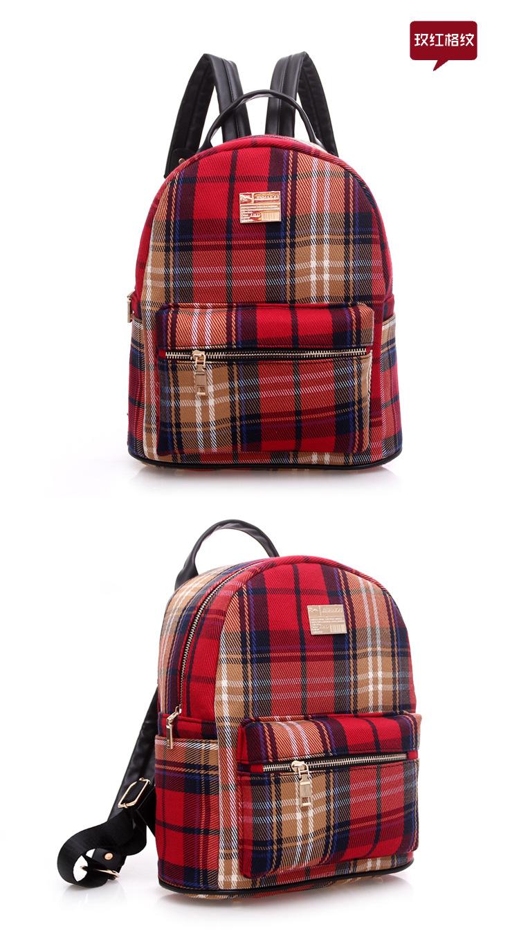 新款英伦格子女包双肩包布艺中学生学生背包旅行包潮包 墨绿色图片