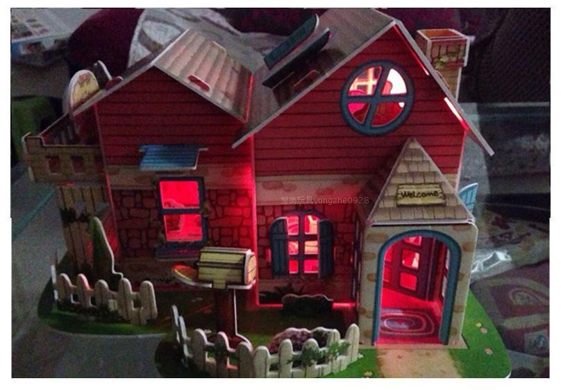 儿童玩具生日礼物女孩圣诞礼品手工diy小屋3d纸房子模型建筑拼装 圣诞