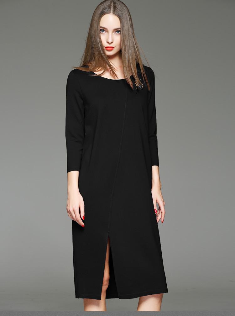 优美开衩大廓形连衣裙女 黑色 l图片