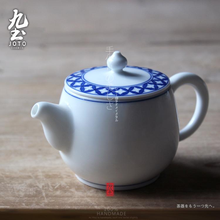 景德镇陶瓷 青花瓷茶壶 功夫茶具手抓壶手绘青花细铜钱纹壶