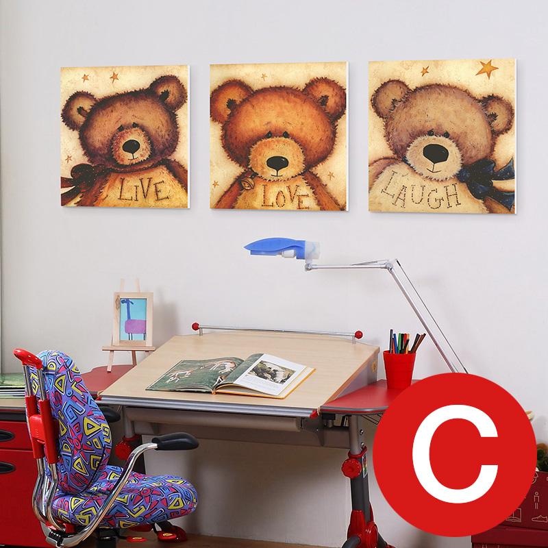 幼儿园儿童房沙发背景墙装饰画 卡通二联三联四联无框