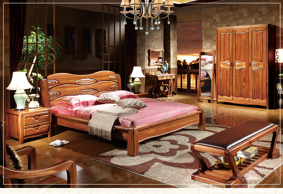 丽巢全实木床金丝檀木家具现代中式卧室双人床大床tw802 金丝檀木