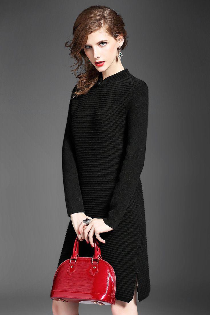 领�9k�iY�[��y�N���_月光石2015冬季新款气质旗袍领长袖纯色弹力修身羊绒连衣裙女5945