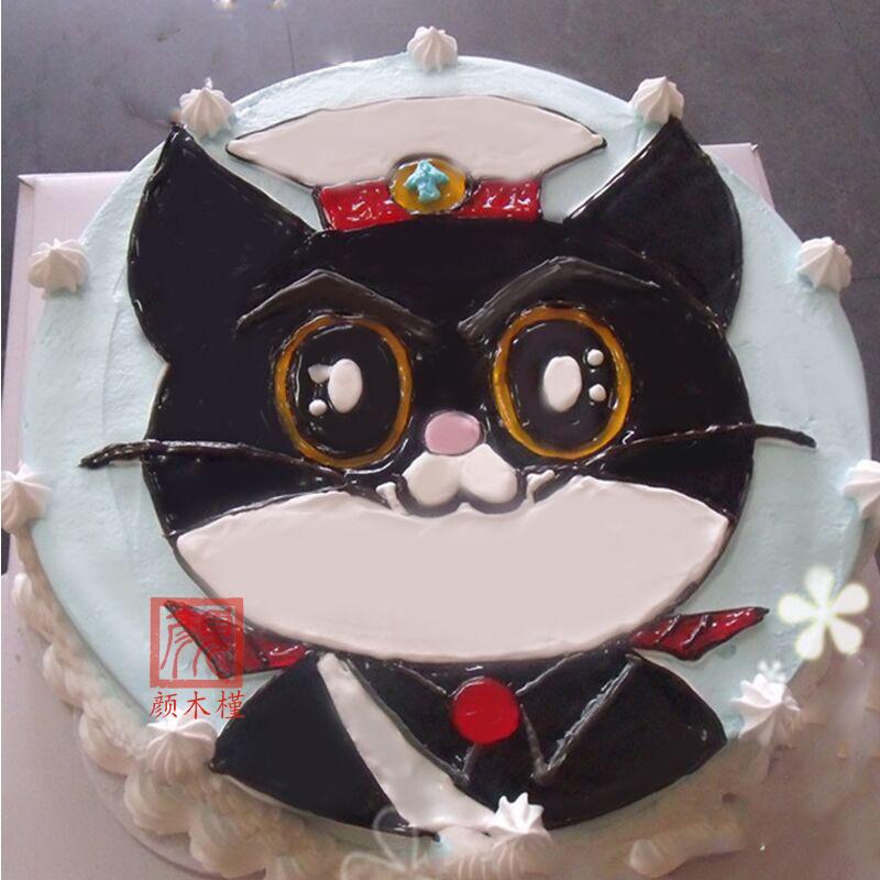北京上海蛋糕 创意手绘卡通个性定制diy黑猫警长水果夹心生日蛋糕 10