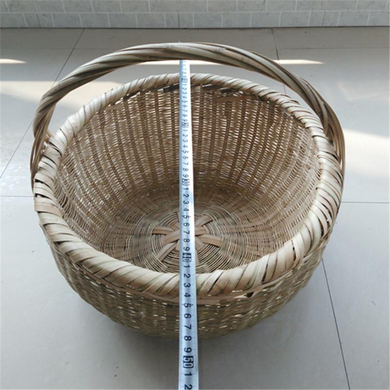 新款纯手工竹编菜篮子竹筐竹篓竹篮子水果篮环保菜篮竹制品大小号 带