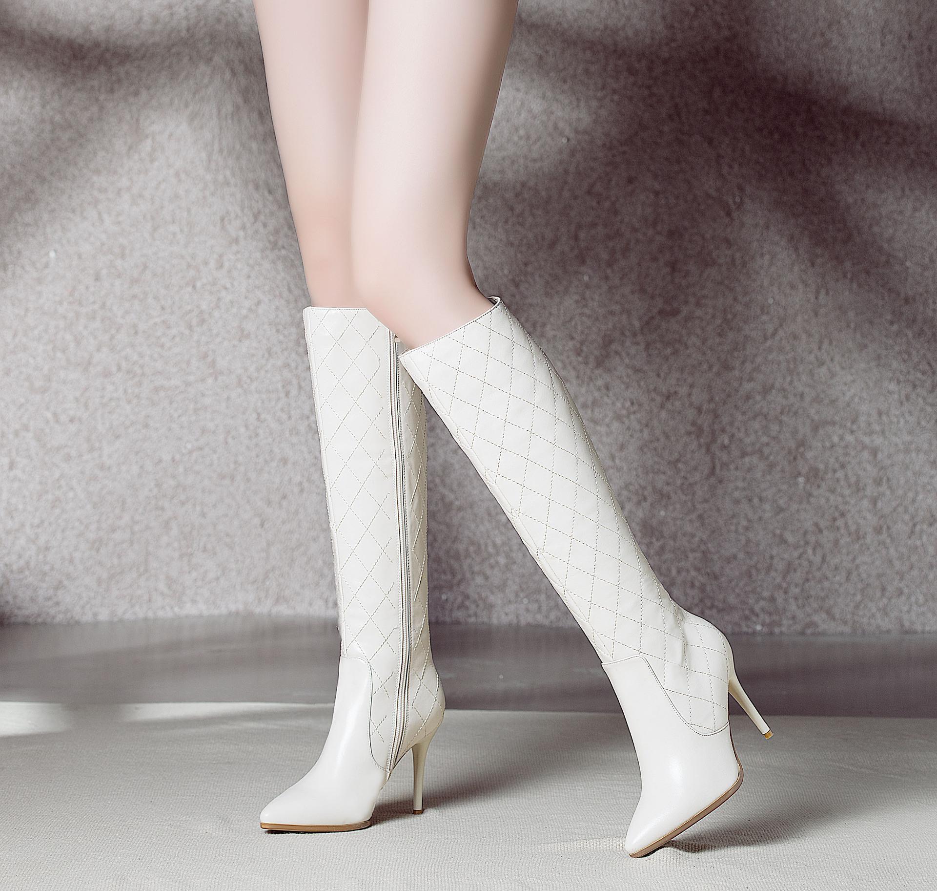 芮婕鞋靴*2015冬季新款细跟真皮白色高跟鞋高筒长靴子