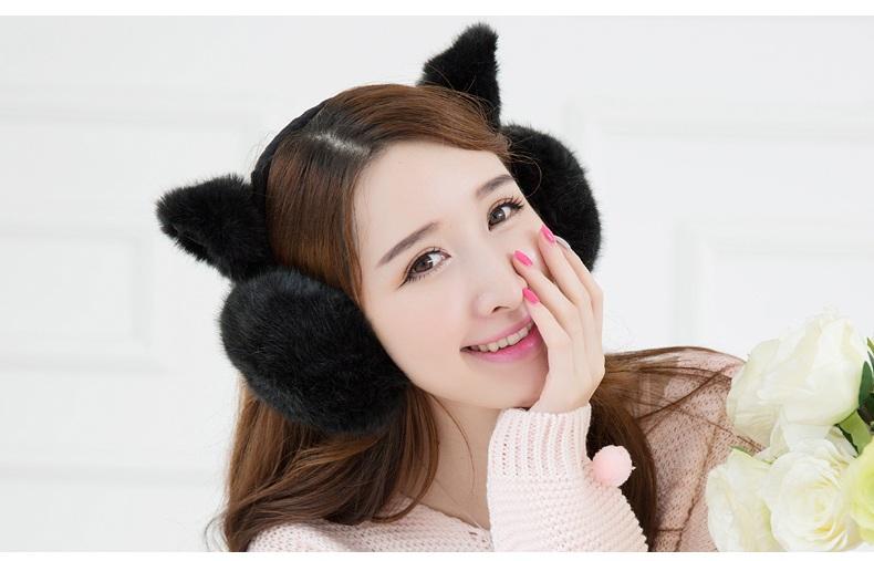 2015可爱耳罩女秋冬保暖猫耳朵耳套护耳耳包耳暖毛毛耳捂 粉色-猫咪