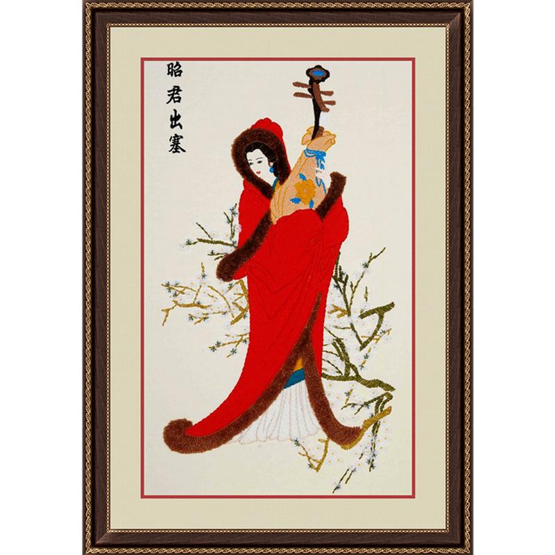 古代女子刺绣手绘图