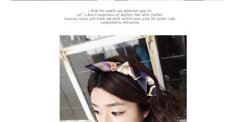 韩版发饰兔耳朵麻花编织布艺松紧发带混色蝴蝶结辫子压发头带发带