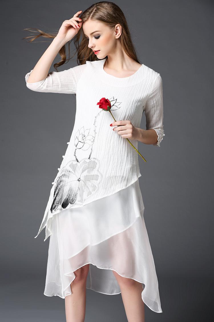 川莉欧美女装 2016春季新款古典旗袍扣手绘莲花不规则