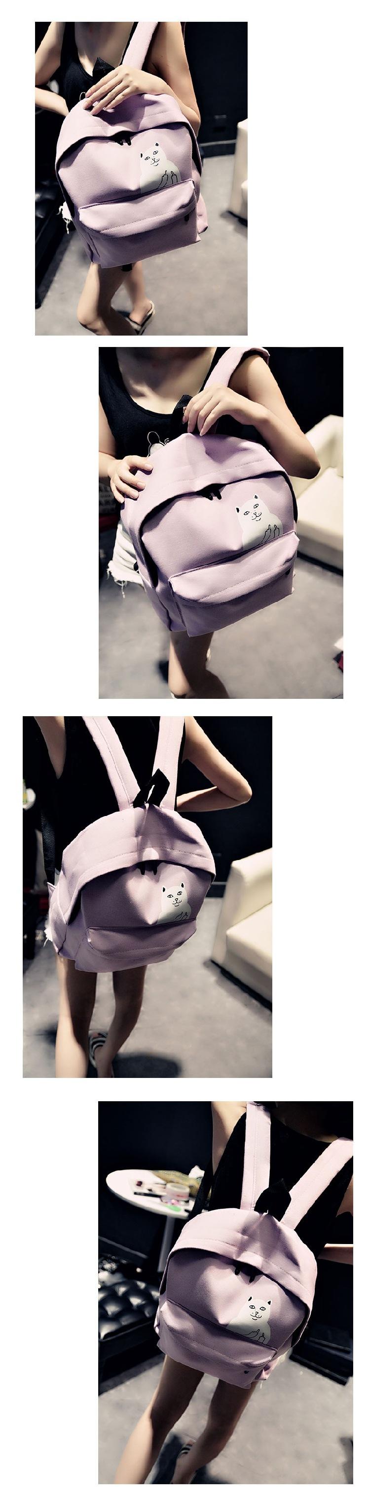 艾帝 小清新韩版学院风卡通中指猫双肩包帆布书包中学生可爱休闲包
