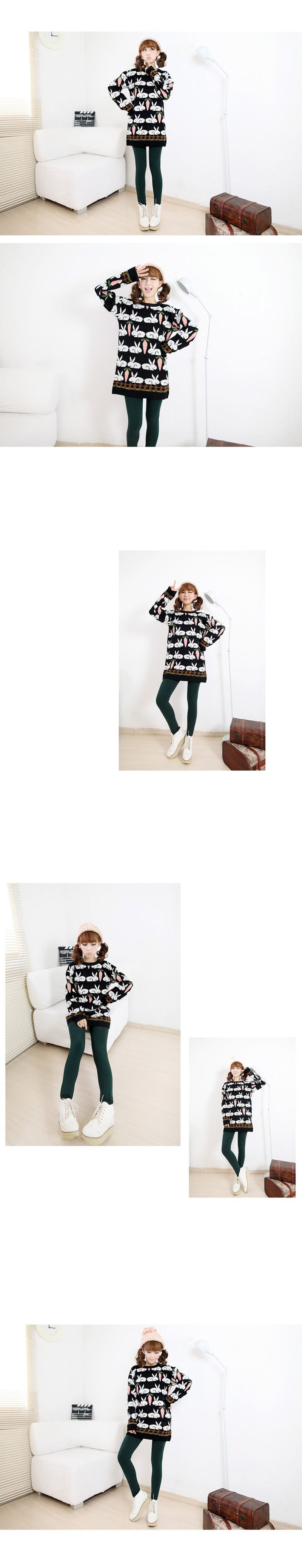 伊芙言2015冬装新款兔子胡萝卜图案超萌卡通可爱长袖毛衣森女针织衫裙
