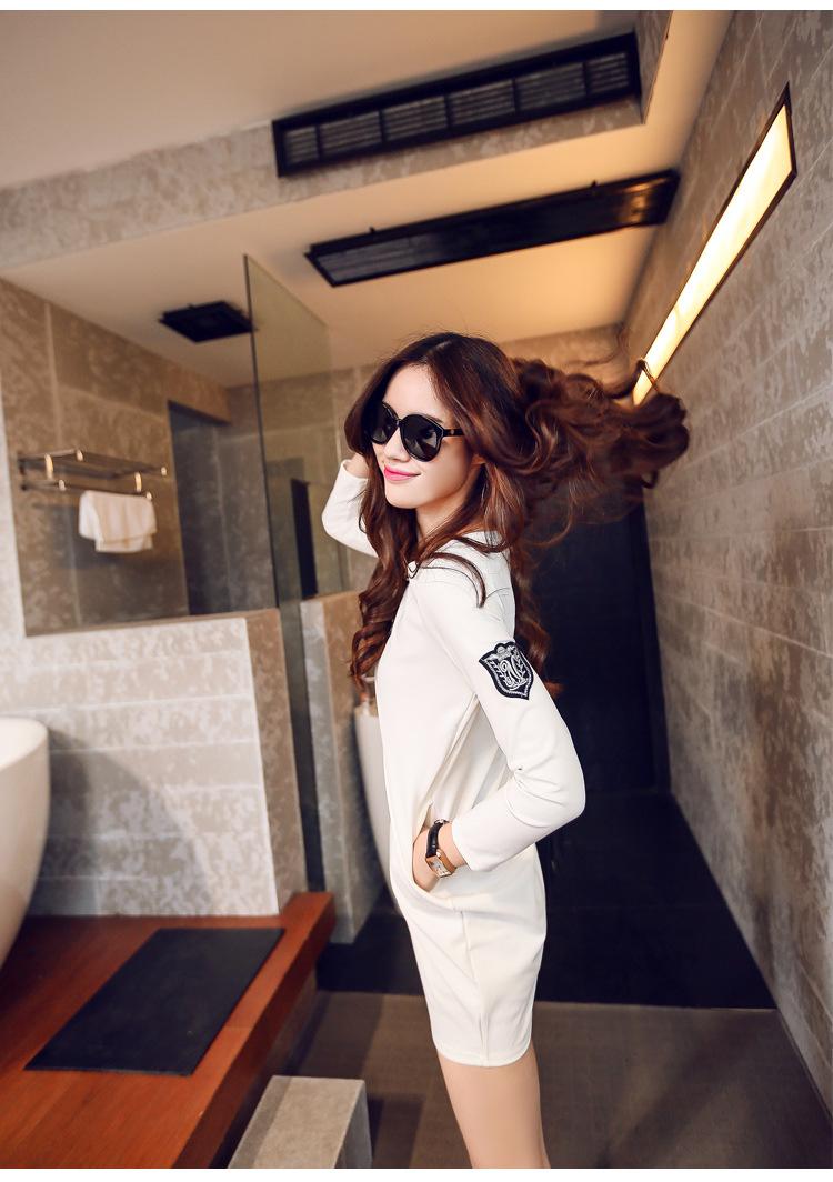 芮婕服装*韩版新品卡通人物圆领直筒连衣裙 s786黑色 白色 均码