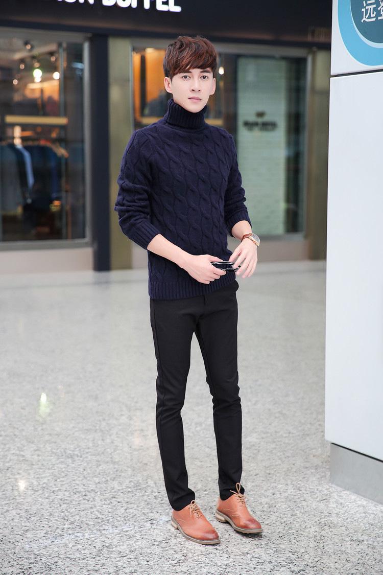 米希娅2015秋冬新款毛衣 韩式纯色高领毛衣男 修身针织衫内搭潮时尚