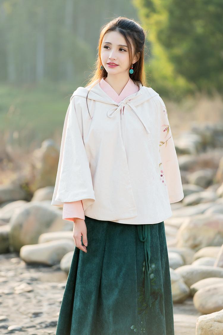 悦姿丹2016春装新款原创中国风手绘汉服元素短斗篷披风 图片色 均码