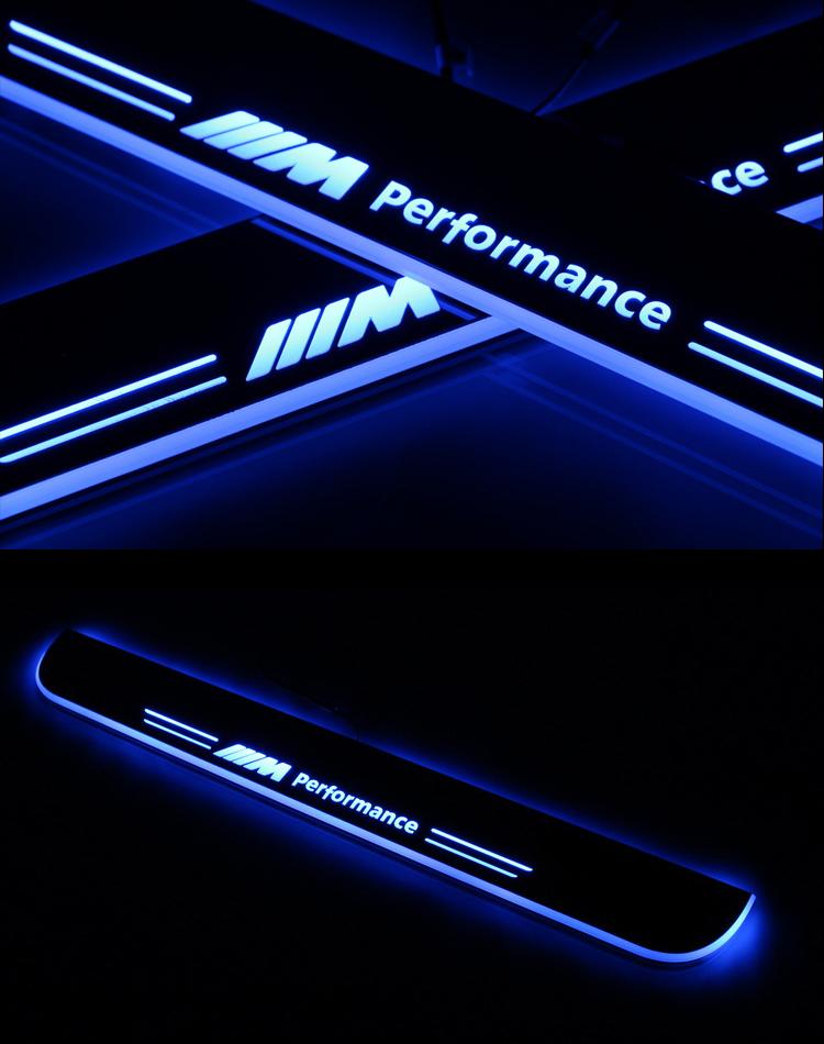 宝马3系5系7系x4x5x6m5 专用led流光动态迎宾踏板灯门槛条白色 蓝色
