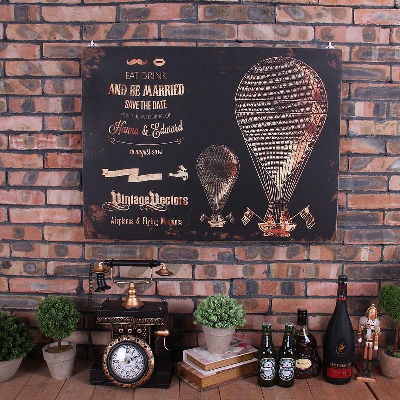 腾彩 家居墙壁装饰壁画美式复古做旧木板画壁饰酒吧咖啡馆墙饰壁挂s3