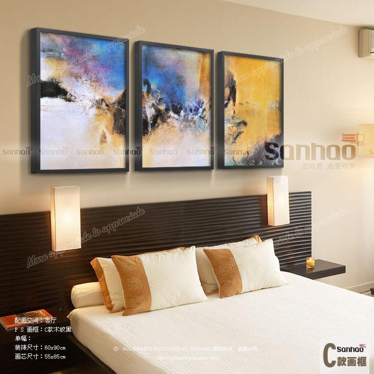 抽象油画手绘三联画客厅沙发背景墙酒店大堂简约现代装饰画赵无极 b款