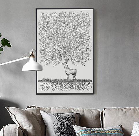 客厅挂画北欧竖版墙画黑白