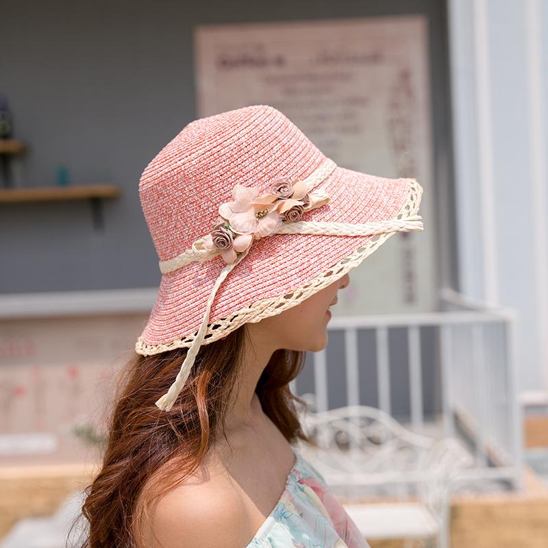 妃雅女装*新款可爱女生花朵拉菲草帽 时尚潮流少女太阳帽 户外旅行