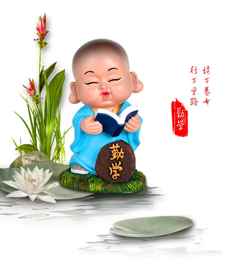 小沙弥摆件 中式禅意小和尚书房办公桌工艺礼品送朋友图片