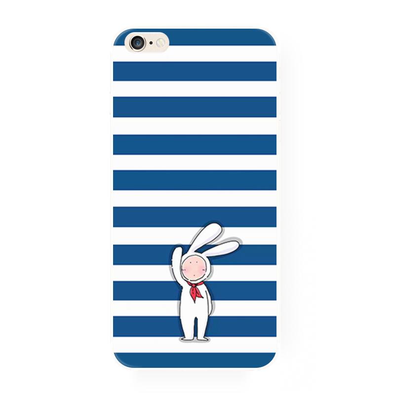 腾彩蓝白色横条可爱白兔 苹果6siphone6splus5s手机壳全包tpu软套j1