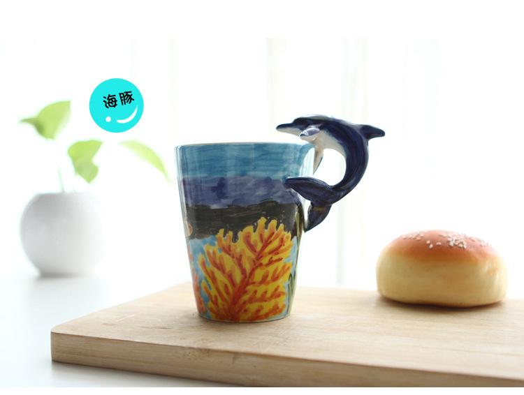 热销创意情侣礼品水杯 3d立体纯手绘海洋系列陶瓷杯 企鹅 201-300ml