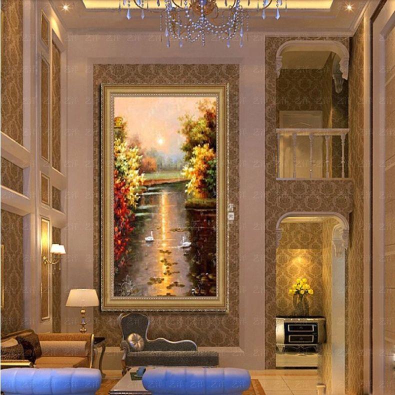 美式玄关装饰画天鹅湖油画手绘欧式风景挂画客厅壁画竖版现代过道