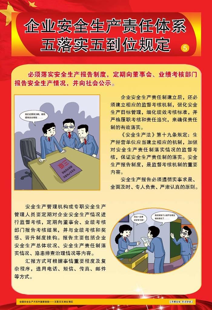 企业生产责任体系五落实五到位规定宣教挂图 6张/套