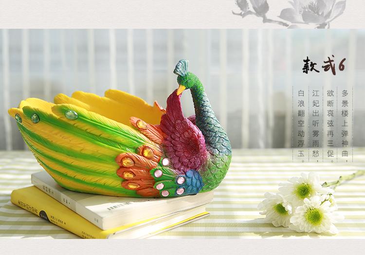 尚坤 卡通孔雀可爱创意动物树脂多肉大花盆 肉肉植物绿植盆栽 款式1
