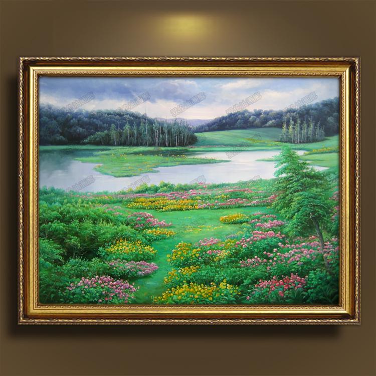 欧式风景纯手绘油画田园玄关挂画装饰画客厅餐厅背景墙卧室有框画