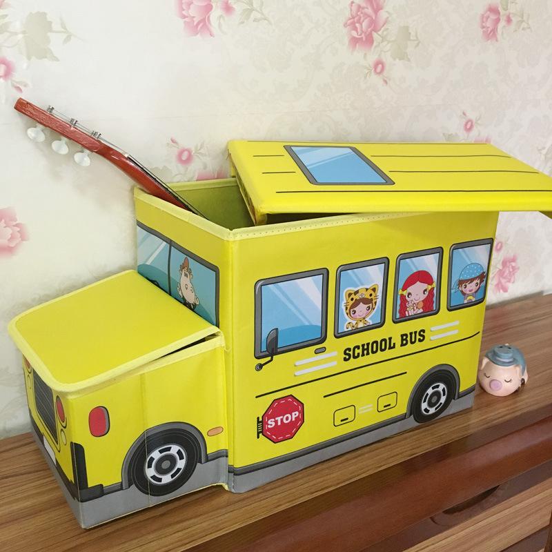 school bus 儿童折叠收纳箱 创意家居用品 卡通汽车收纳箱收纳凳颜色图片