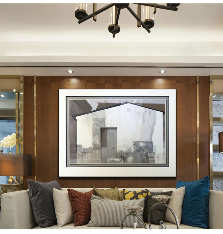 新中式客厅沙发背景墙装饰画原创纯手绘抽象风景油画酒店会所挂画 a款