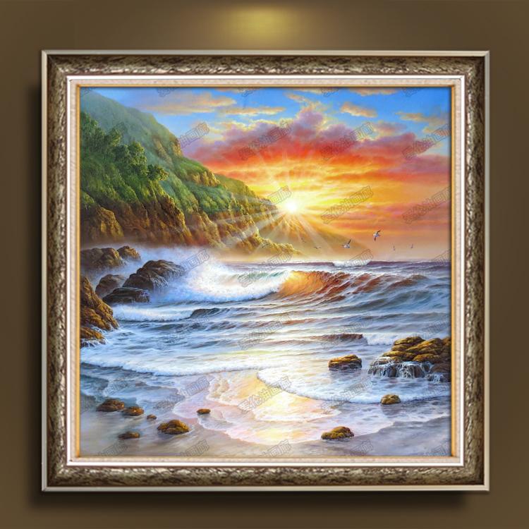 油画纯手绘风景装饰画海景日出朝霞海浪客厅沙发背景墙挂画有框画