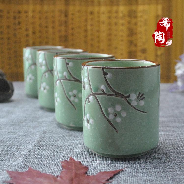 雪花手绘茶具下午茶日式和风陶瓷茶壶 韩式茶杯茶壶花草茶具套装 绿色